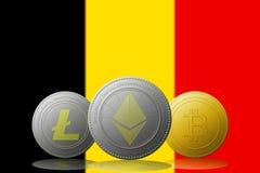 3D cryptocurrencies Bitcoin Ethereum et Litecoin de l'illustration trois avec le drapeau de la Belgique sur le fond Photo stock