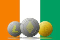 3D cryptocurrencies Bitcoin Ethereum et Litecoin de l'illustration trois avec le drapeau de la Côte d'Ivoire sur le fond Image stock