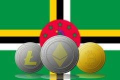 3D cryptocurrencies Bitcoin Ethereum et Litecoin de l'illustration trois avec le drapeau de la Dominique sur le fond Photo stock
