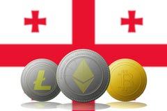 3D cryptocurrencies Bitcoin Ethereum et Litecoin de l'illustration trois avec le drapeau de la Géorgie sur le fond Photo stock