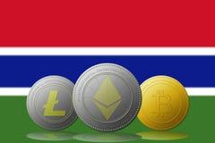 3D cryptocurrencies Bitcoin Ethereum et Litecoin de l'illustration trois avec le drapeau de la Gambie sur le fond Photographie stock libre de droits