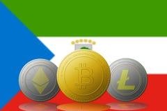 3D cryptocurrencies Bitcoin Ethereum et Litecoin de l'illustration trois avec le drapeau de la Guinée équatoriale sur le fond Photo libre de droits
