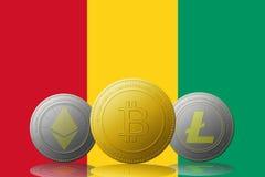3D cryptocurrencies Bitcoin Ethereum et Litecoin de l'illustration trois avec le drapeau de la Guinée sur le fond Photo libre de droits