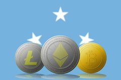 3D cryptocurrencies Bitcoin Ethereum et Litecoin de l'illustration trois avec le drapeau de la Micronésie sur le fond Image libre de droits