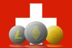 3D cryptocurrencies Bitcoin Ethereum et Litecoin de l'illustration trois avec le drapeau de la Suisse sur le fond Photos libres de droits