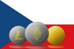 3D cryptocurrencies Bitcoin Ethereum et Litecoin de l'illustration trois avec le drapeau de République Tchèque sur le fond Photos libres de droits