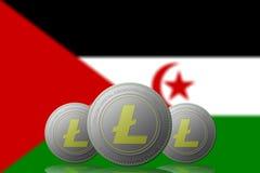 3D cryptocurrency da ILUSTRAÇÃO três LITECOIN com a bandeira OCIDENTAL de SAHARA Occidental no fundo ilustração royalty free