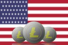 3D cryptocurrency del EJEMPLO tres LITECOIN con los estados fUnited del retraso de América en fondo ilustración del vector