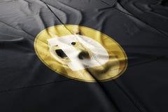 3d cryptocurrency van de Dogecoindoge geeft vlag terug vector illustratie