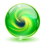 3D crystal, glass sphere. With abstract spiral shape inside, vector illustration Stock Images