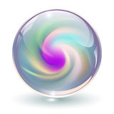 3D crystal, glass sphere. With abstract spiral shape inside, vector illustration Stock Image