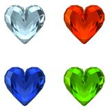 3D Crystal Hearts. (4 Colors) - Isolated on White or Transparent Background Additional format available : PNG Transparent stock illustration
