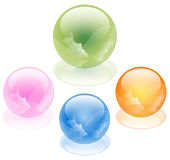 3D crystal sphere,  illustration. 3D crystal sphere on white background Royalty Free Stock Images