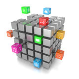 3D Cube App Icons. On White Background 3D Illustration Stock Photo
