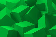 3d cube background. 3d abstract cube green background Stock Photo