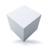 3d cube or box on white background. With reflection Royalty Free Stock Photos