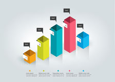 3D cube chart, graph. Simply color editable. Infographics elements royalty free illustration