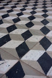 3D Cube Checker Floor Tile Old Royalty Free Stock Images