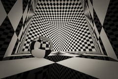 3d cube checkered room Royalty Free Stock Images
