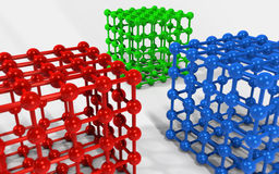 3D Cube and corner spheres. Royalty Free Stock Image