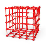 3D Cube and corner spheres Stock Photos