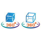 3d cube 360 degree rotation line icon, outline and solid vector Royalty Free Stock Photo