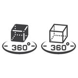 3d cube 360 degree rotation line icon, outline and solid vector Stock Photos