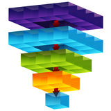 3d Cube Funnel. An image of a 3d cube funnel Royalty Free Stock Photo