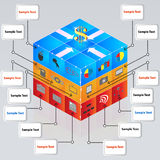 3d cube with icons for business concepts. Presentations, brochure Stock Image