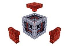 3D cube - les pièces se réunissantes - le verre rouge Photos libres de droits