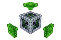 3D cube - les pièces se réunissantes - le verre vert Photographie stock