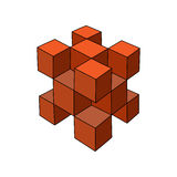 3d cube logo. Abstract hand-drawn 3d cube logo or design template. Vector graphics Royalty Free Stock Images