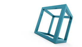 3D cube logo design icon. On blue Royalty Free Stock Images