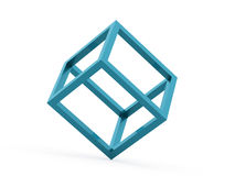 3D cube logo design icon. On blue Royalty Free Stock Image