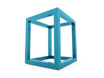 3D cube logo design icon. On blue Royalty Free Stock Photography