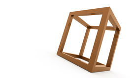 3D cube logo design icon. On orange Stock Images