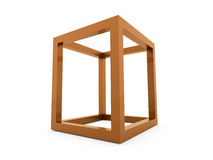 3D cube logo design icon. On orange Royalty Free Stock Photo