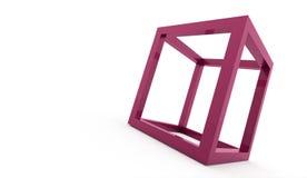 3D cube logo design icon. On pink Stock Photo