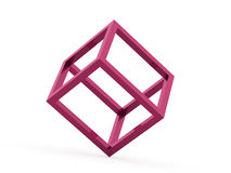 3D cube logo design icon. On pink Royalty Free Stock Images