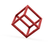 3D cube logo design icon. On red Stock Photos