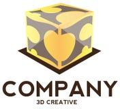 3D cube logo. Illustration Stock Photo