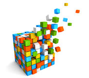 3D Cube. Made of multiple and colorful cubes Stock Images