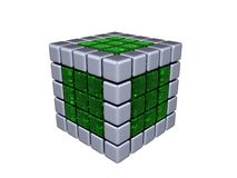 3D Cube - Metal and Glass Stock Image
