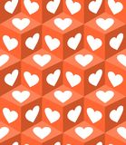 3d cube patterns with white heart shapes on orange background. Valentine day motif for gift paper printing. Vector eps10 Royalty Free Stock Images