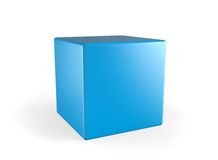 3d cube. Perfect blue 3d cube on a white background Royalty Free Stock Photography