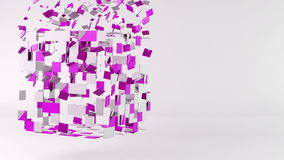 3d cube polygon transformation, geometric abstract background stock footage