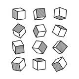 3D cube in pop art style in black and white, vector Royalty Free Stock Photo