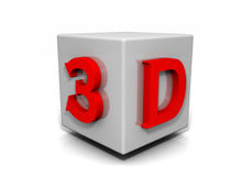3D Cube Render. Rendering of a 3D cube with the letters 3D on it Royalty Free Stock Image