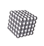3D cube with silver balls Stock Image