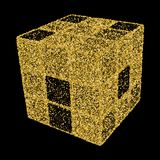 3D Cube. Vector illustration for your design. Gold confetti conc. Ept Stock Photos